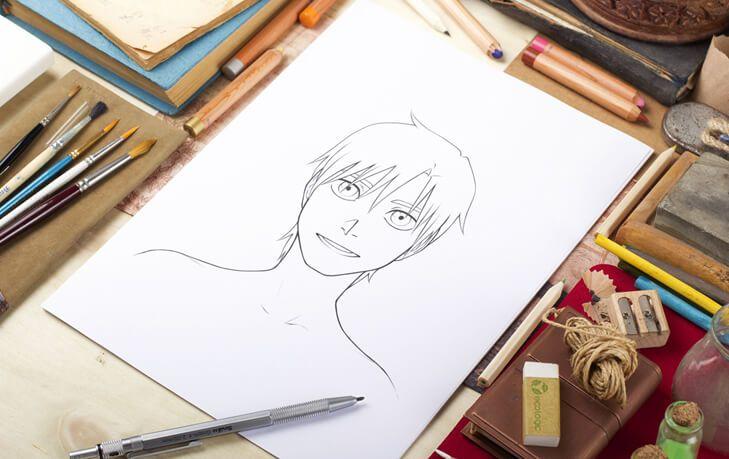 Z tej lekcji dowiesz się jak utrzymać symetrię twarzy podczas rysowania postaci skierowanej przodem.