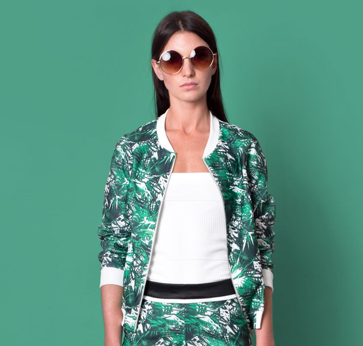 Cocoon Spring - Summer 2015 / Muss collection / Palm print green bomber jacket and pants.