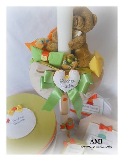 Baptism candle and accessories.