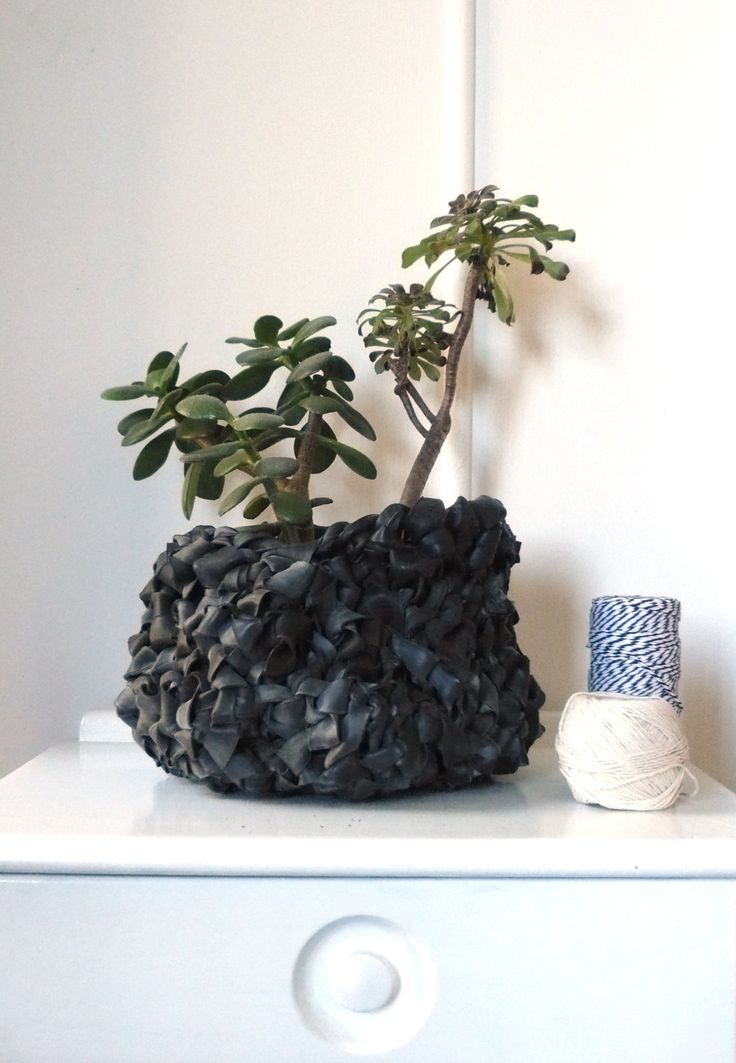 Crocheted Basket Planter by myVeryOwnEyeGoggles : Made with up-cycled bicycle rubber inner tubes. #Basket #Planter #Bicycle_Inner_Tubes #MyVeryOwnEyeGoggles