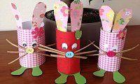 Velikonoční zajíčci, velikonoční tvoření, tvoříme s dětmi jaro, zajíčci z ruliček od toaletního papíru,