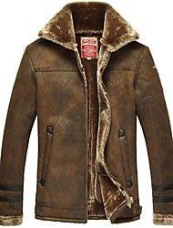 Hombres de la solapa de la chaqueta de cuero del ... – USD $ 79.74 FRN