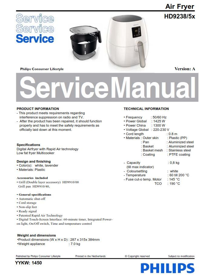 Philips Airfryer Hd9238 5x Series Service Manual Free Download Philips Manual Air Fryer