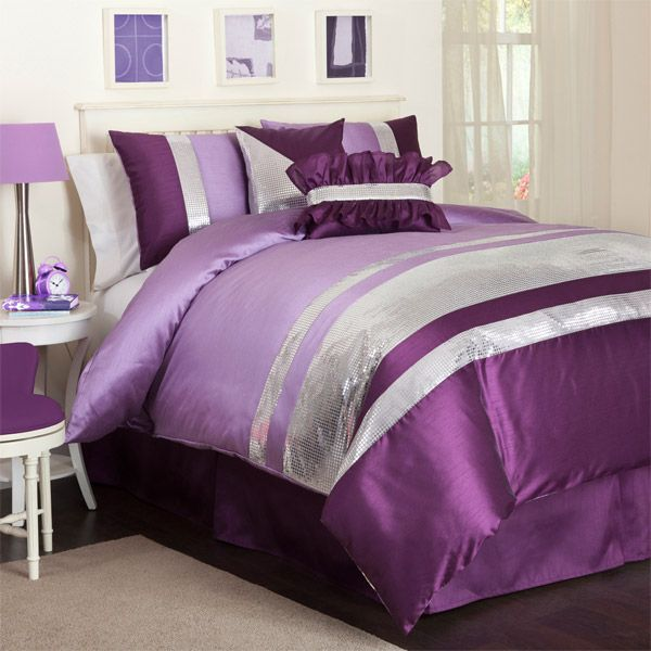 Jewel purple and silver comforter set by triangle home for Purple and silver bedroom designs