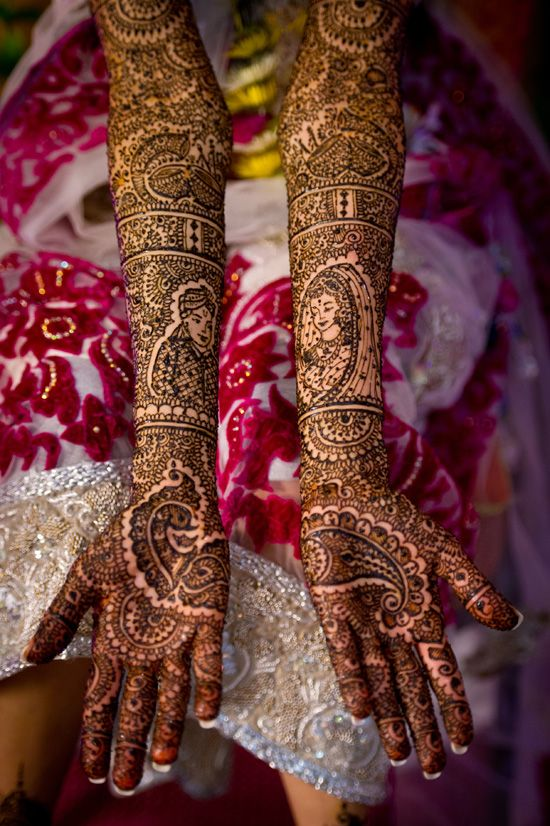 Rajasthani Mehendi! Check out the king and queen- raja and rani tattooed in side the intricate design! Beautifully intricate.