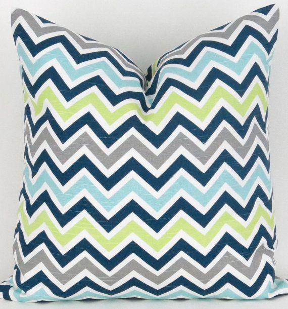 Navy Blue Green Zigzag Pillow Cover - ANY SIZE - Chevron Zoom Canal Premier Prints - cushion throw couch euro sham aqua teal lime geometric