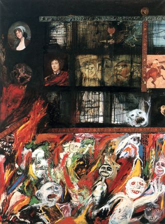 """#Hegel; Otra Figuración (1961-1965) y Antiestética (1965), en el que se sumerge de lleno en los debates de la época desde una perspectiva propia y combativa. Sus opiniones insisten en el proceso de creación de la obra y en su """"materialidad"""". Aún cuando sostiene que la obra artística es un """"epifenómeno"""" de la creación, algo que se produce como residuo de la práctica. Credits; El Incendio del Jockey Club (1995) Luis Felipe aka Yuyo Noé. Técnica mixta sobre tela. 199,5 x 150 cm."""