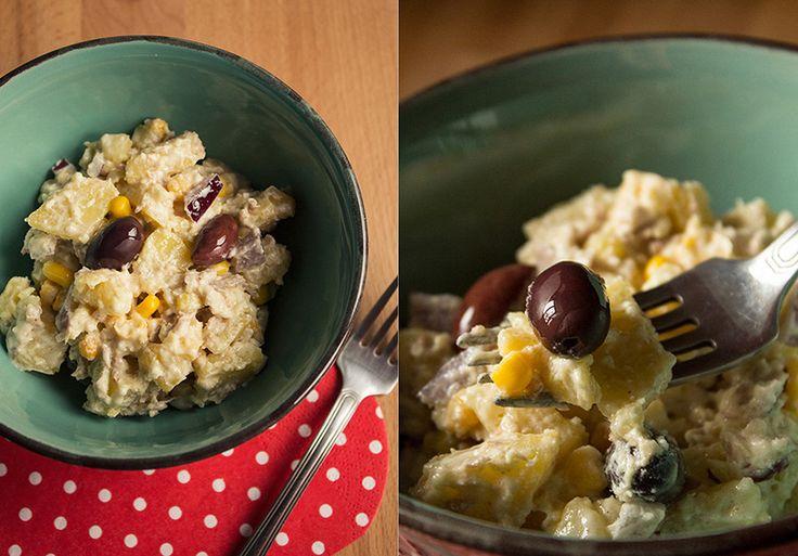 Salata rece cu ton, porumb si cartofi