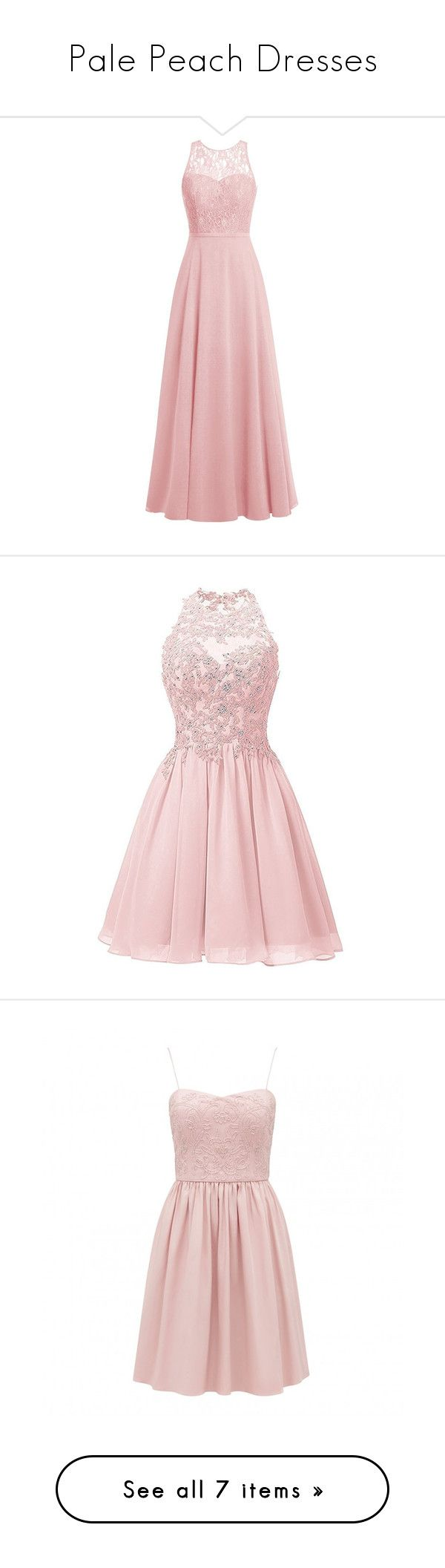 """""""Pale Peach Dresses"""" by tegan-b-riley on Polyvore featuring dresses, gowns, long dresses, lace gown, long evening dresses, long gown, long lace dress, short prom dresses, short cocktail dresses and pink prom dresses"""