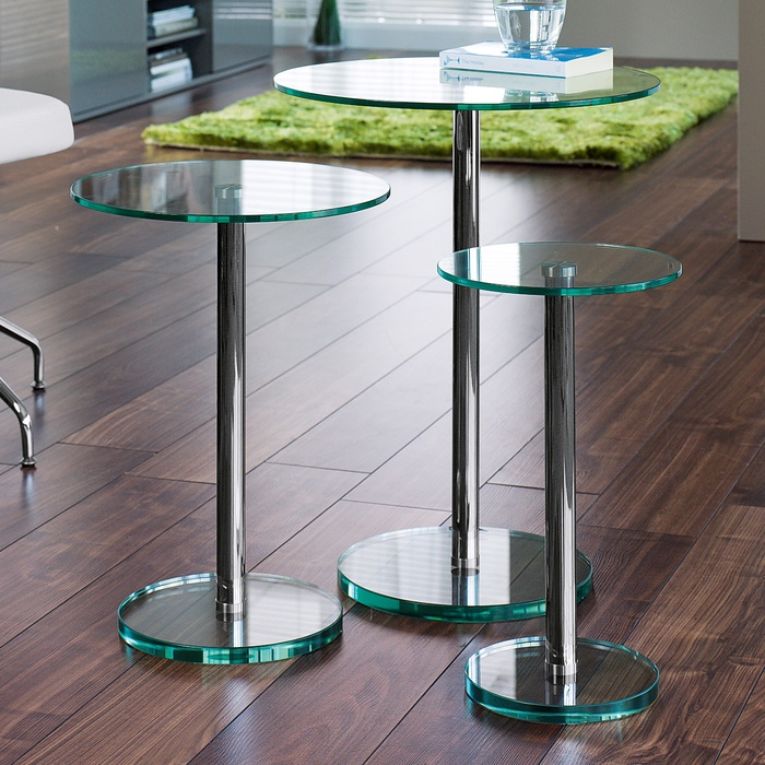 Bella Glass Side Tables Set Clear   Dwell   199 GBP