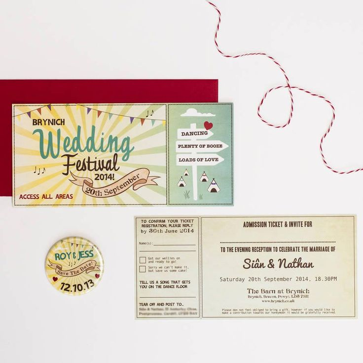 If you've planned the perfect festival style wedding, then you need a ticket style invitation to match. We love this personalised festival ticket wedding invitation available at Not on the High Street.