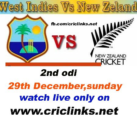 29th December sunday 2nd ODI between West Indies and Newzland will be play at Napier.After close finish of 1st odi newzland will be want to win 2nd odi .on other hand WI will be eyeing on finish 2nd odi also on high,match will be start 6.00 am PST.6.30 am IST.TO WATCH LIVE ACTION PLEASE VIST ONLY ON http://www.criclinks.net/