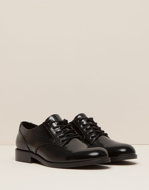 Pull&Bear - woman - women's footwear - college bluchers - black - 15535011-I2015