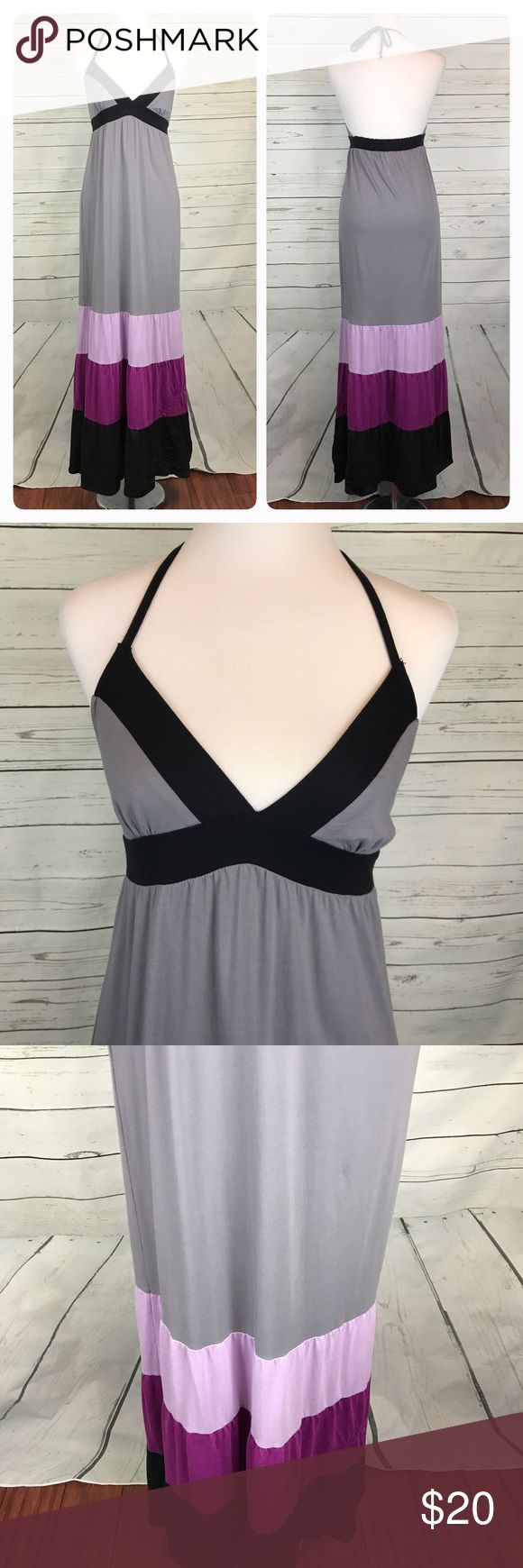 """Roxy Maxi dress color Block purple gray black Roxy women's size small Maxi dress. Halter tie back neckline. Color Block in gray, Lavender, purple, and black. Elastic back. Gently used, no flaws.  Brand: Roxy Size: Small Fabric: 60% Cotton / 40% Polyester  APPROXIMATE MEASUREMENTS lying flat Underarm to Underarm: 13.5"""" Underarm to Hem: 50""""  B14 Roxy Dresses Maxi"""