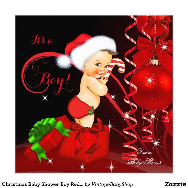 Christmas Baby Shower Boy Red Black Brunette Invitation