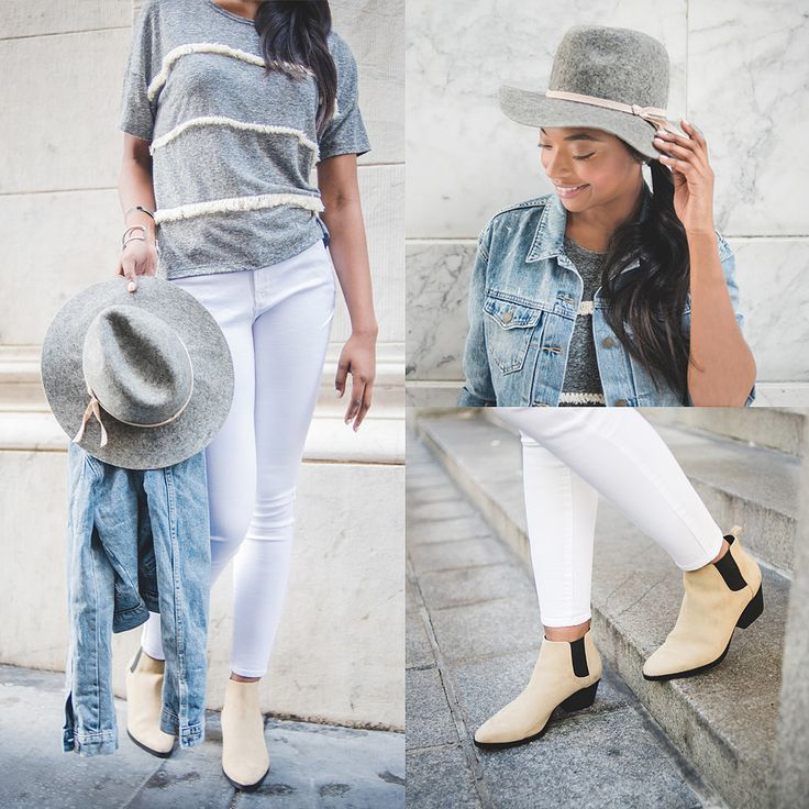 Top it off with a gray felt hat and throw on tan ankle boots, and you'll be ready for a weekend adventure.