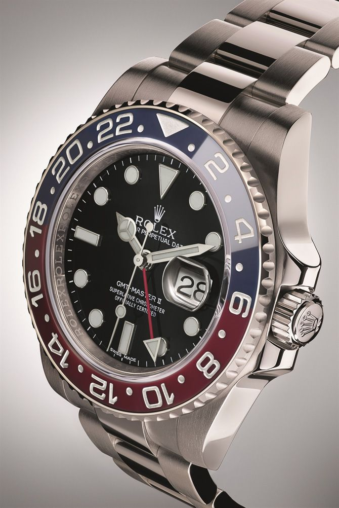 "ROLEX Revives The Famed Blue & Red ""Pepsi Bezel"" GMT-Master II Watch, But For A Price - See Ariel's piece in Forbes ""In the mid 1950s when Rolex was designing and first released the original GMT-Master, the theme of their first aviation watch was not cola. Rolex lovers know that in fact the red and blue color should be attributed to PanAm airlines..."" - More hands-on pictures & video, from Baselworld 2014 on aBlogtoWatch.com #ABTWBaselworld2014"