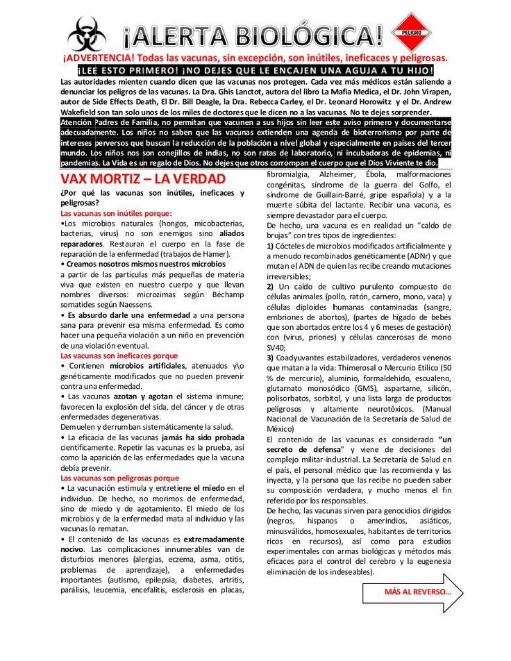 Volante no vacunas #INFLUENZA #PAPILOMAhumano #BIOTERRORISMO by Reziztek Rezi via slideshare