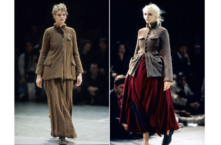 """Fall 1994 - For her """"Metamorphosis"""" collection, Kawakubo paired wool, military-style jackets with full, billowing skirts. (Her models also wore trapper hats and fur shtreimel toppers.) Deconstruction—a common Kawakubo theme—was key here."""