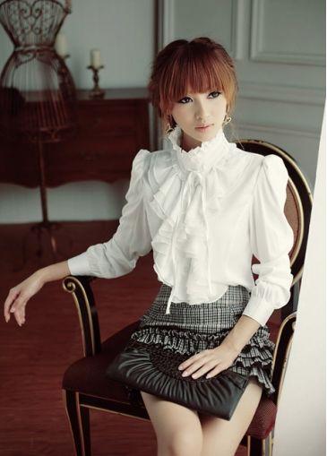 Lady Mandarin Collar Long Sleeve White Satin Blouse $12.34