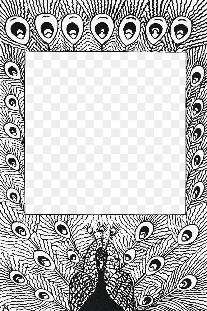 Download Premium Png Of Vintage Black And White Peacock Feather Png Frame White Peacock Vintage Illustration Web Design Resources
