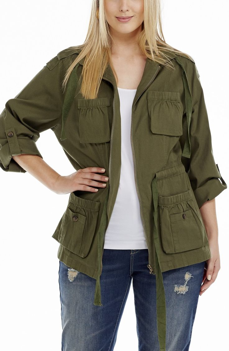 Army Fatigue Jacket | Khaki Style No: JK11126 Cotton Drill Fabric Army Jacket. This jacket has a zip front opening. The four front pockets have a little feminine touch with elasticized edging that creates a slight gather. The hemline is shaped at the back and the sleeves have a turn up tab and button. This jacket has a draw string at the waist. #dreamdiva #dreamdivafiles #fashion #plussize