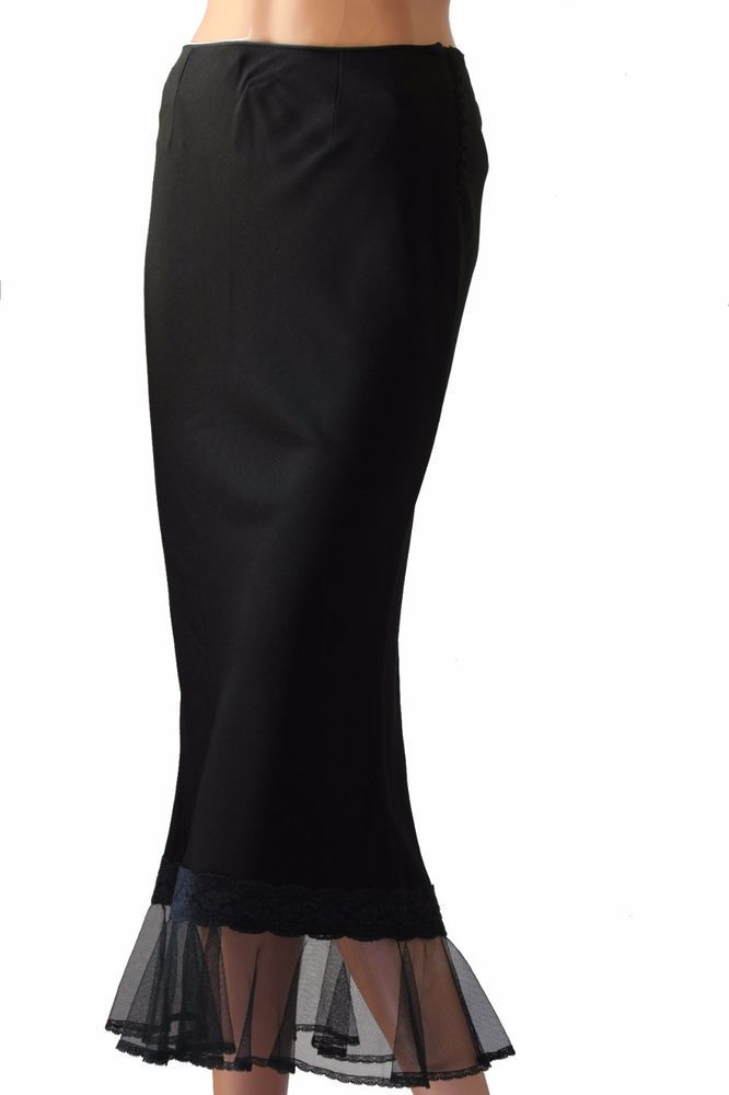 Christian Dior Long Black Silk Sexy Tulip Style Skirt Sheer Ruffle Hem Size S  | eBay