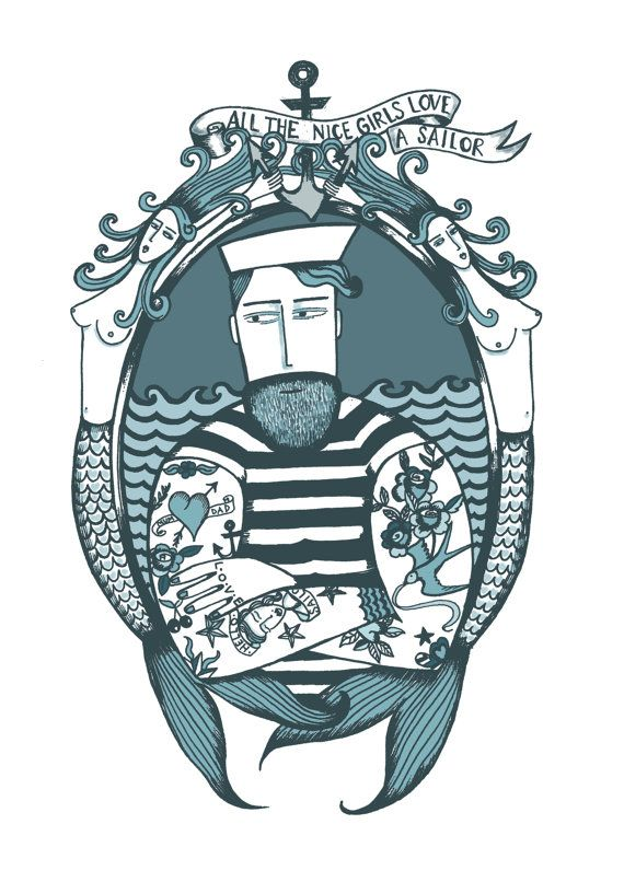 Tattooed Sailor Print by suowen on Etsy, $16.00