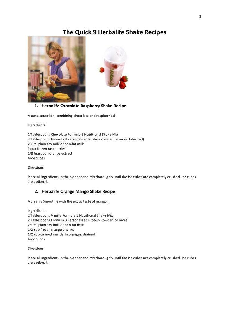 the-quick-9-herbalife-shake-recipes by Neville Purdon via Slideshare