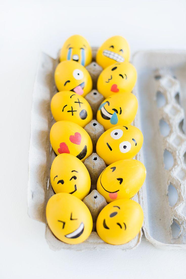 Huevos de pascua en forma de emojis | emoji easter eggs #craftideas