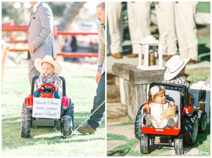 Flower Girl & Ring Bearer- Tractor-Here Comes your bride-Sweetpea Ranch Wedding- Upland, CA- Rustic Barn Wedding- Jen Disney Photography www.jendisney.com