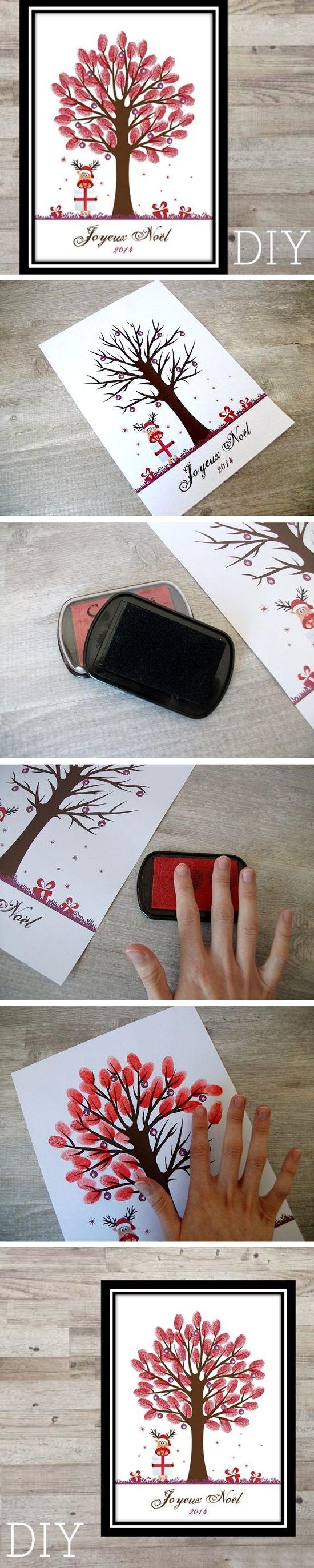 idée de cadeau DIY : Réalisez un arbre à empreinte à offrir aux parents/grands parents !