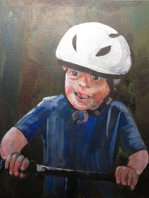 Nolan biking, Acrylic.  Bob McQueen