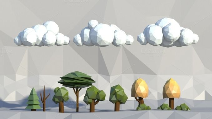 Low poly trees, clouds, bushes