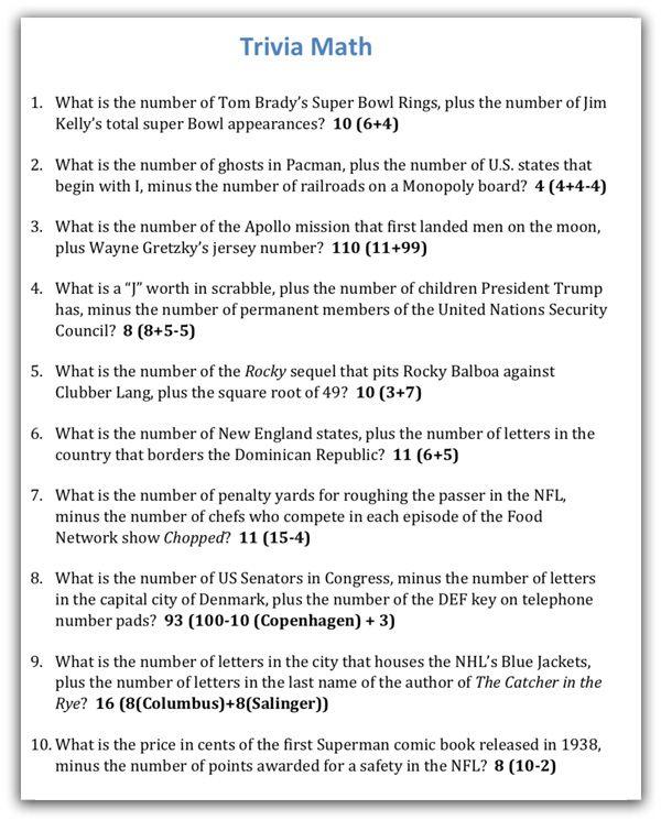 Quiz Night Kit 3 Trivia Math Facts