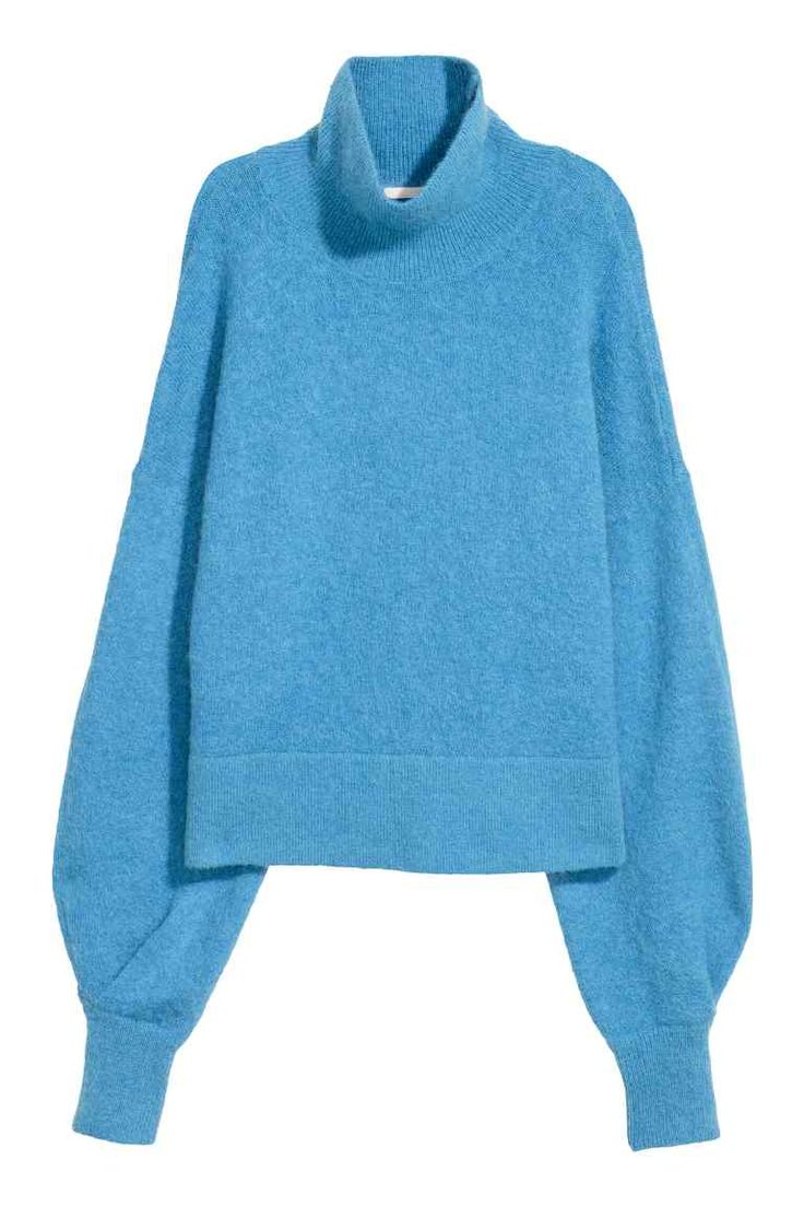 Водолазка из смесового мохера - Голубой - Женщины | H&M RU