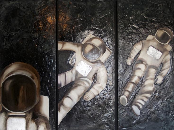 """Astronautas"" - (tríptico 70x1 c/u) - técnica: óleo"