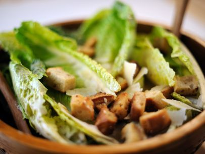 Caesar Salad.  This sounds and looks good, but I would not leave the romaine leaves whole.  I'm not a fan of using a knife in order to eat my salad when it reaches my plate.  It makes me cranky.