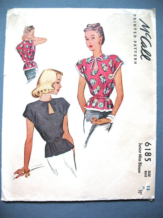 Unprinted 1940s  Uncut McCall 6185 Blouse Pattern  Keyhole Neckline Bust 31 inches