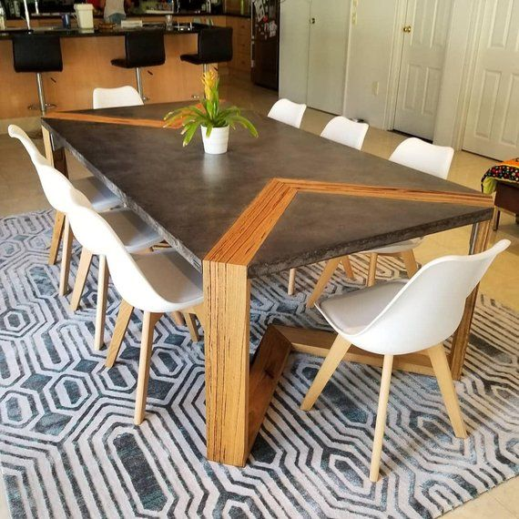 Live Edge Hardwood Timber And Concrete Dining Table With Powder