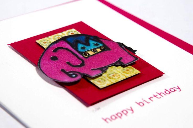 Handmade Elephant Birthday Card - www.threedotcards.co.uk