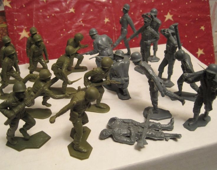 MARX BATTLEGROUND PLAYSET VINTAGE 1960s 20 US & GERMAN 54MM PLASTIC TOY SOLDIERS #MARX