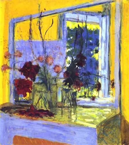 Flowers onafireplaceArtist: Edouard Vuillard Start Date: 1932 Completion Date:1935 Style: Post-Impressionism Genre: still life Dimensions: 102 x 90 cm Tags: flowers-and-plants, dishware-and-cutleryin Clayes -