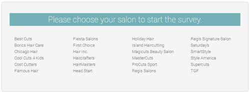 Regis Hair Salons Customer Satisfaction Survey, www.mysalonlistens.com