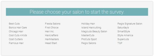 Regis Hair Salons Customer Satisfaction Survey, www.mysalonlistens.com