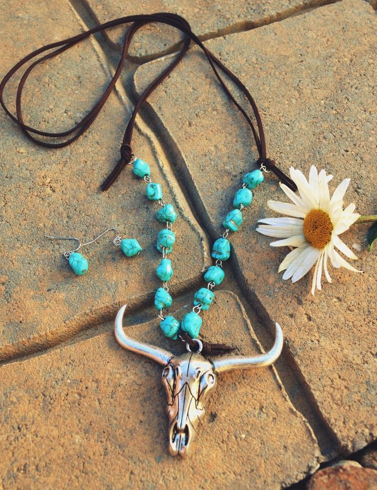 """Big 3.25"""" (across) antiqued silver tone metal longhorn cow skull on. COWGIRL BLING! lots of men's & women's western wear and cowgirl bling! 32"""" faux suede necklace with faux turquoise. the item you receive may or may not vary slightly. 