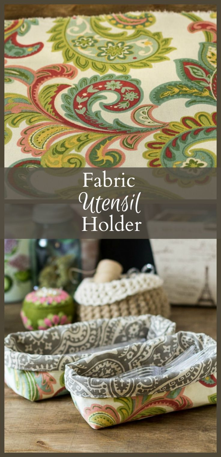 "Fabric Utensil Holder - fabric caddy - gardenmatter.com..""a beginner sewing project allows you to make these pretty containers in any size."""