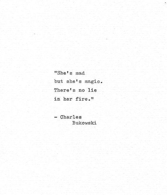 "Charles Bukowski Letterpress Quote ""She's mad but she's magic…"" Vintage Typewriter Love Print Hand"