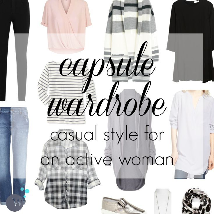 A casual capsule wardrobe for the fall for the active woman; would be a great option for a SAHM, weekend style for mom, very casual workplace.
