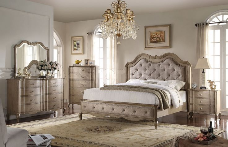 Chelmsford 6 PC Bedroom Set In Antique Taupe By Acme Furniture